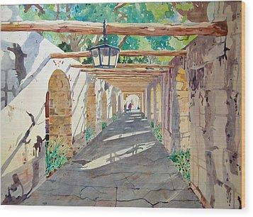 Alamo Walkway Wood Print by Terry Holliday