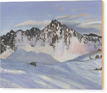 Alamoots Winter Mountains Wood Print by Cecilia Brendel