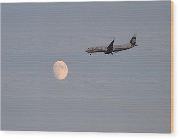 Alaska Airplane Meets The Moon Wood Print