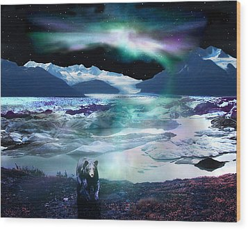 Alaska Aurora Knik Glacier Bear Wood Print by Dianne Roberson