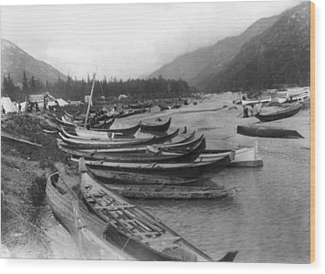Wood Print featuring the photograph Alaska Canoes, C1897 by Granger