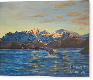 Wood Print featuring the painting Alaska Dawn by Jeanette French