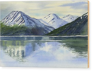 Alaska Mountain Reflections Wood Print by Sharon Freeman