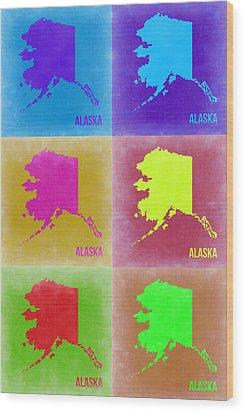 Alaska Pop Art Map 2 Wood Print by Naxart Studio