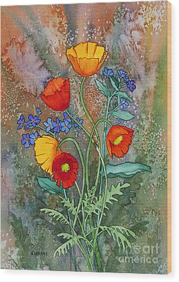 Alaska Poppies And Forgetmenots Wood Print by Teresa Ascone
