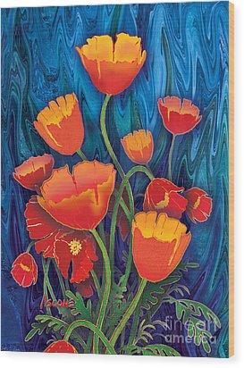 Wood Print featuring the mixed media Alaska Poppies by Teresa Ascone
