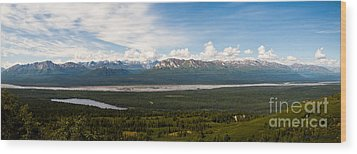Alaska Range Wood Print by Chris Heitstuman