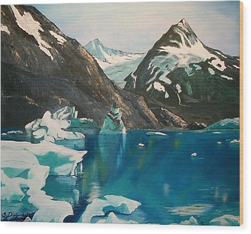 Wood Print featuring the painting Alaska Reflections by Sharon Duguay