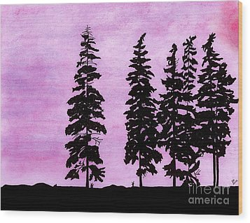 Wood Print featuring the drawing Colorful - Alaska - Sunset by D Hackett