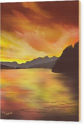 Alaska Sunset Wood Print by Terry Frederick