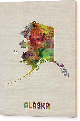 Alaska Watercolor Map Wood Print by Michael Tompsett