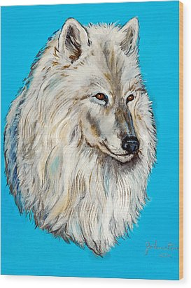 Wood Print featuring the painting Alaska White Wolf by Bob and Nadine Johnston