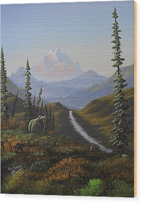 Wood Print featuring the painting Alaskan Brown Bear by Richard Faulkner
