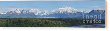 Alaskan Denali Mountain Range Wood Print