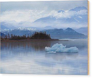 Wood Print featuring the digital art Alaskan Mountain Side by Nina Bradica