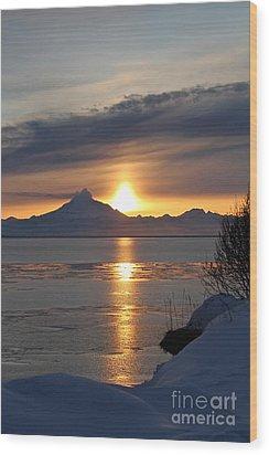 Alaskan Sunset Wood Print by Rick  Monyahan