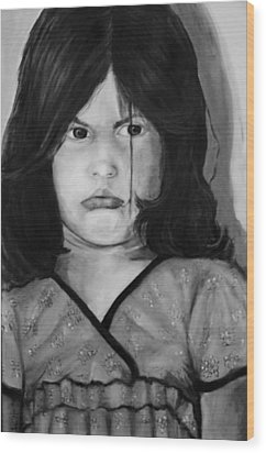 Alayna Off Center Wood Print by Jean Cormier