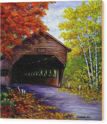 Albany Covered Bridge Wood Print by Sandra Estes
