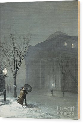 Albany In The Snow Wood Print by Walter Launt Palmer