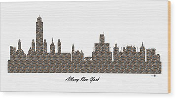 Albany New York 3d Stone Wall Skyline Wood Print