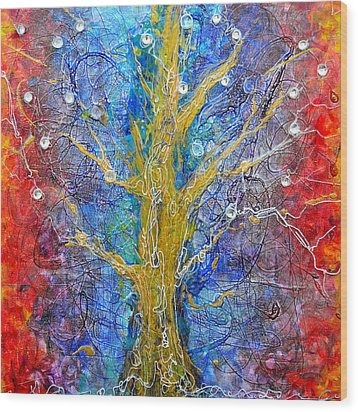 Albedo Tree Of Life 8 Wood Print by Regina Valluzzi
