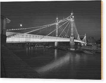 Albert Bridge At Night  Wood Print
