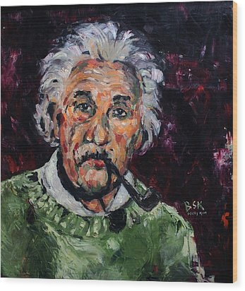 Albert Einstein Wood Print by Becky Kim