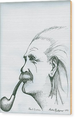 Wood Print featuring the painting Albert Einstein by Richie Montgomery
