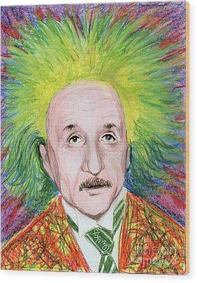 Albert Einstein Wood Print by Yoshiko Mishina