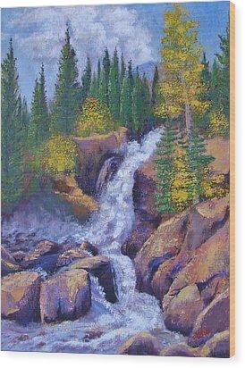 Alberta Falls Wood Print by Margaret Bobb