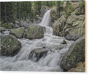 Alberta Falls Wood Print by Tom Wilbert