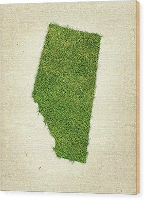 Alberta Grass Map Wood Print by Aged Pixel