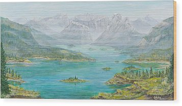 Alberta Rocky Mountains Wood Print by Cathy Long