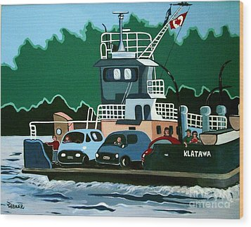 Wood Print featuring the painting Albion Ferry by Joyce Gebauer