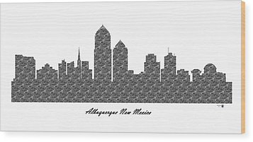 Albuquerque New Mexico 3d Bw Stone Wall Skyline Wood Print