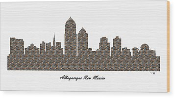 Albuquerque New Mexico 3d Stone Wall Skyline Wood Print
