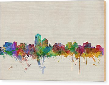 Albuquerque New Mexico Skyline Wood Print by Michael Tompsett
