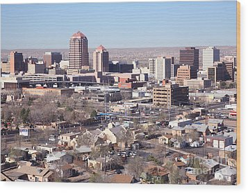 Albuquerque Skyline Wood Print by Bill Cobb