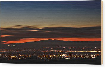 Albuquerque Sunset Wood Print by Marlo Horne