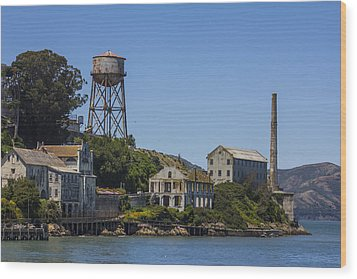 Alcatraz Dock And Water Tower Wood Print by John McGraw