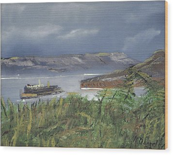 Wood Print featuring the painting Alcatraz by Michael Daniels