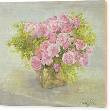Alchemilla And Roses Wood Print by Timothy Easton