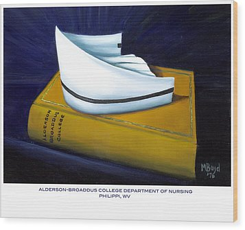 Wood Print featuring the painting Alderson-broaddus College by Marlyn Boyd