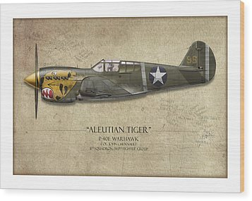 Aleutian Tiger P-40 Warhawk - Map Background Wood Print by Craig Tinder