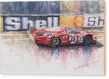 Alfa Romeo T33 B2 Le Mans 24 1968 Galli Giunti Wood Print by Yuriy  Shevchuk