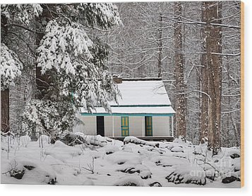 Wood Print featuring the photograph Alfred Reagan's Home In Snow by Debbie Green