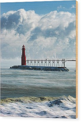 Algoma Pierhead Lighthouse Wood Print