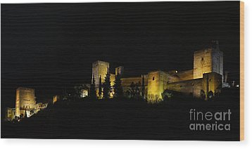 Wood Print featuring the photograph Alhambra At Night by Rudi Prott