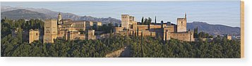 Wood Print featuring the photograph Alhambra Palace - Panorama by Nathan Rupert
