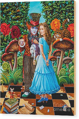 Alice And Mad Hatter. Part 2 Wood Print by Igor Postash